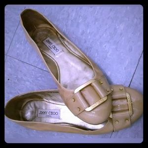 JIMMY CHOO Beige PATENT LEATHER Ballet Flats Shoes
